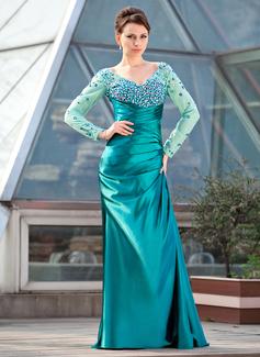 Etui-Linie Off-the-Schulter Sweep/Pinsel zug Charmeuse Kleid für die Brautmutter mit Rüschen Perlstickerei Pailletten (008018682)