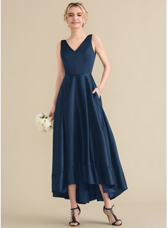 A-Line/Princess V-neck Asymmetrical Satin Evening Dress (017164923)