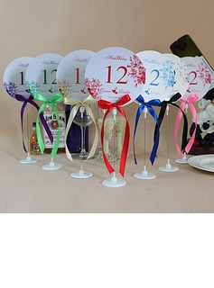 Personalized Flower Design Paper Table Number Cards With Holder With Ribbons (Set of 10) (118032253)