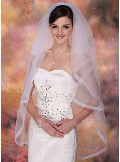 Two-tier Fingertip Bridal Veils With Ribbon Edge (006003956)