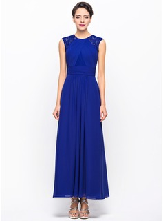 A-Line/Princess Scoop Neck Ankle-Length Chiffon Lace Evening Dress With Ruffle (017056109)