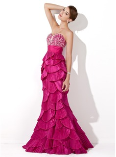 Trumpet/Mermaid Sweetheart Floor-Length Taffeta Prom Dress With Beading Sequins Pleated (018005254)