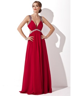 A-Line/Princess V-neck Floor-Length Chiffon Holiday Dress With Ruffle Beading Sequins (020025942)