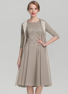 A-Linie/Princess-Linie U-Ausschnitt Knielang Chiffon Spitze Kleid für die Brautmutter (008131926)