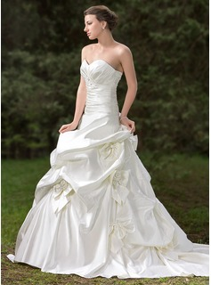 Ball-Gown Sweetheart Chapel Train Satin Wedding Dress With Ruffle Beading Appliques Lace Flower(s) Bow(s) (002000661)