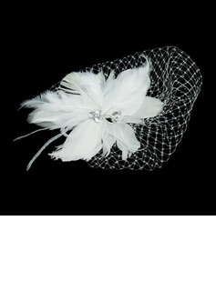 Prachtige Feather/Tule Fascinators met Strass (042026526)