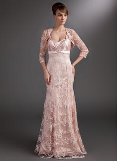 Trompete/Meerjungfrau-Linie Herzausschnitt Bodenlang Spitze Kleid für die Brautmutter mit Rüschen Perlen verziert Pailletten (008006523)