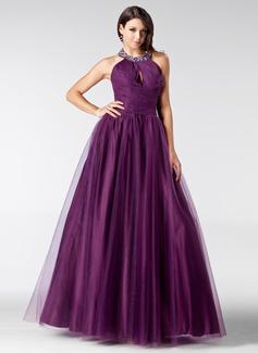 A-Linie/Princess-Linie Träger Bodenlang Tüll Quinceañera Kleid (Kleid für die Geburtstagsfeier) mit Rüschen Perlen verziert (021020811)