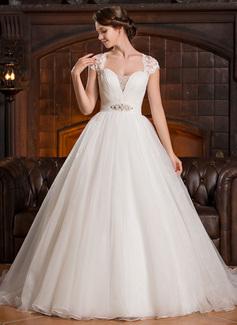 Corte de baile Escote corazón Barrer/Cepillo tren Organdí Tul Encaje Vestido de novia con Volantes Bordado Lentejuelas (002056250)