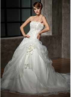 Ball-Gown Strapless Chapel Train Organza Satin Wedding Dress With Embroidered Beading Flower(s) (002012711)
