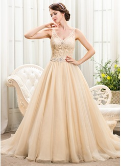 Corte de baile Escote en V Cola capilla Tul Encaje Vestido de novia con Bordado Lentejuelas (002056222)