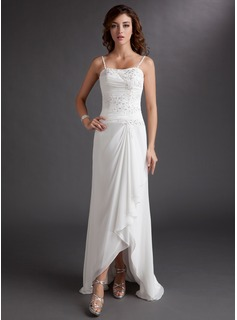 A-Line/Princess Sweetheart Asymmetrical Chiffon Wedding Dress With Ruffle Lace Beadwork Sequins (002012020)