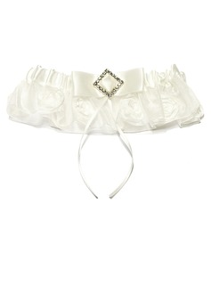 Amazing Organza With Flower Rhinestone Wedding Garters (104024495)