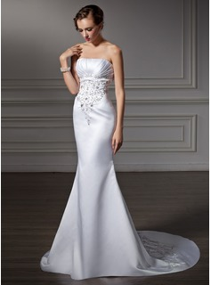 Mermaid Strapless Chapel Train Satin Wedding Dress With Embroidery Ruffle Beadwork (002004485)