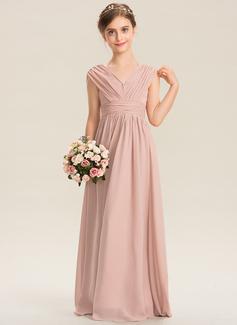 A-Linie V-Ausschnitt Bodenlang Chiffon Kleid für junge Brautjungfern mit Rüschen Schleife(n) (009173305)
