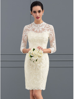 Sheath/Column High Neck Knee-Length Lace Wedding Dress (002127281)