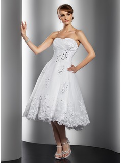 A-Line/Princess Sweetheart Knee-Length Taffeta Organza Wedding Dress With Ruffle Lace Beading Sequins (002014769)