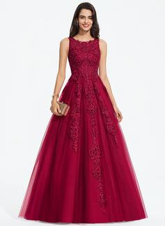 Palloncino/Principessa Tondo Sweep/Spazzola treno Tyll Abiti da sposa con Perline (002207441)