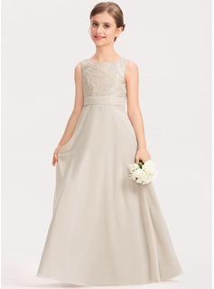A-Line Scoop Neck Floor-Length Chiffon Lace Junior Bridesmaid Dress With Ruffle (009191703)