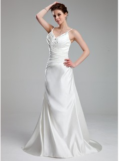 A-Line/Princess V-neck Court Train Satin Wedding Dress With Ruffle Lace Beading (002011714)