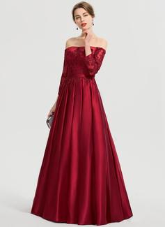 Robe Marquise/Princess Hors-la-épaule Longueur ras du sol Satiné Robe bal d'étudiant (018192375)