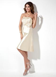 A-Line/Princess Strapless Knee-Length Charmeuse Bridesmaid Dress With Ruffle (007000861)