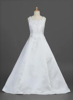 A-Line/Princess Floor-length Flower Girl Dress - Satin Sleeveless Square Neckline With Beading/Flower(s) (010007302)