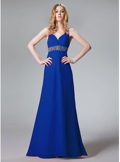 Cheap Evening Dresses A-Line/Princess Sweetheart Floor-Length Chiffon Evening Dress With Ruffle Beading Sequins (017013093)