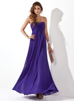 Empire-Linie Herzausschnitt Bodenlang Chiffon Abendkleid mit Rüschen Perlen verziert (017020658)