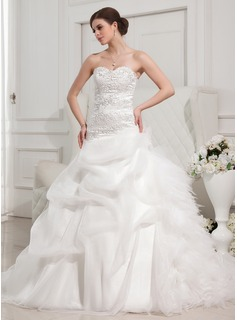Ball-Gown Sweetheart Cathedral Train Organza Satin Tulle Wedding Dress With Ruffle Lace Beading (002011767)