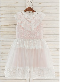 A-Line Knee-length Flower Girl Dress - Chiffon/Tulle/Lace Sleeveless Scoop Neck (010172375)