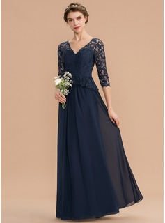 A-Line V-neck Floor-Length Chiffon Lace Bridesmaid Dress With Ruffle (007176768)