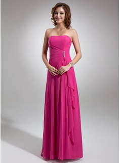 Burgundy Bridesmaid Dresses A-Line/Princess Sweetheart Floor-Length Chiffon Bridesmaid Dress With Ruffle Beading (007001085)