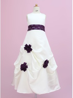 A-Line/Princess Floor-length - Satin Sleeveless Scoop Neck With Sash/Beading/Flower(s)/Sequins (010002149)