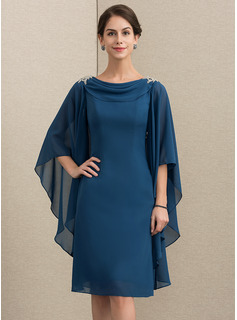 Sheath/Column Cowl Neck Knee-Length Chiffon Cocktail Dress With Beading (016192777)
