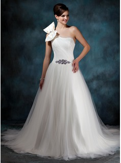 Ball-Gown One-Shoulder Chapel Train Satin Tulle Wedding Dress With Ruffle Beading Bow(s) (002011944)