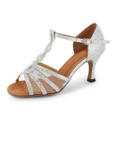Women's Sparkling Glitter Heels Sandals Latin Salsa With T-Strap Dance Shoes (053020380)