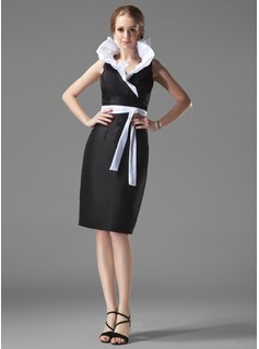 Sheath/Column V-neck Knee-Length Taffeta Cocktail Dress With Ruffle Sash (016002913)