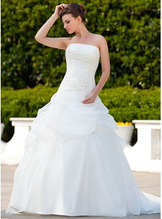 Ball-Gown Strapless Court Train Organza Wedding Dress With Ruffle Beading Appliques Lace (002011561)