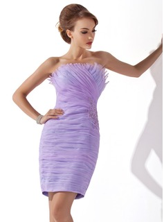 Sheath/Column Scalloped Neck Short/Mini Organza Cocktail Dress With Ruffle Beading Appliques Lace Sequins (016008523)