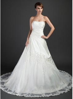 Ball-Gown Sweetheart Cathedral Train Tulle Charmeuse Wedding Dress With Ruffle Beading Appliques Lace (002015372)