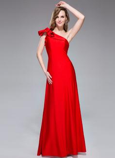 Trompete/Meerjungfrau-Linie One-Shoulder-Träger Bodenlang Jersey Festliche Kleid mit Gestufte Rüschen (017042353)