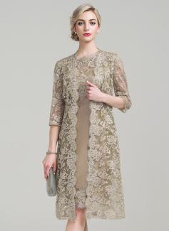 Etui-Linie U-Ausschnitt Knielang Taft Kleid für die Brautmutter (008085280)