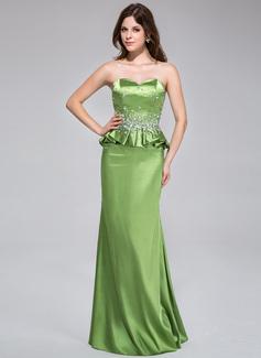 Etui-Linie Herzausschnitt Bodenlang Charmeuse Abendkleid mit Perlen verziert Gestufte Rüschen (022027379)