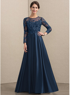 A-Line Scoop Neck Floor-Length Satin Lace Evening Dress With Beading (017192567)