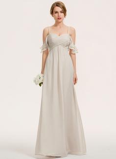 A-Linjainen Kultaseni Lattiaa hipova pituus Sifonki Morsiusneitojen mekko jossa Laskeutuva röyhelö (007190674)