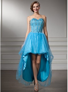 A-Line/Princess Sweetheart Asymmetrical Tulle Charmeuse Homecoming Dress With Beading Sequins (022008137)