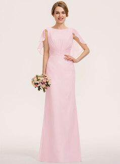 A-Line Scoop Neck Floor-Length Chiffon Bridesmaid Dress With Cascading Ruffles (007190675)