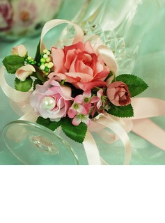 Sweet Free-Form Satin/Cotton Wrist Corsage/Pin-on Corsage (124032024)