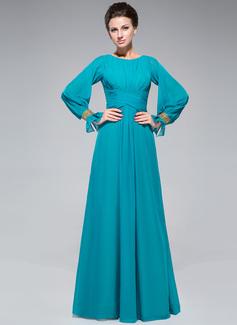 A-Linie/Princess-Linie U-Ausschnitt Bodenlang Chiffon Kleid für die Brautmutter mit Rüschen Perlstickerei Pailletten (008047382)